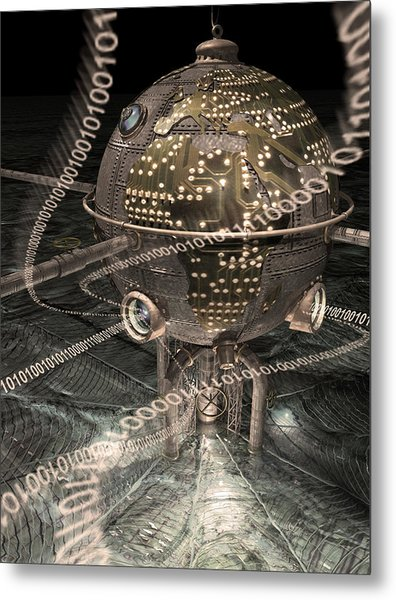 Steampunk Data Hub Metal Print