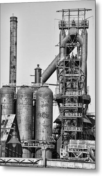 Steel Blast Furnace Bw Metal Print