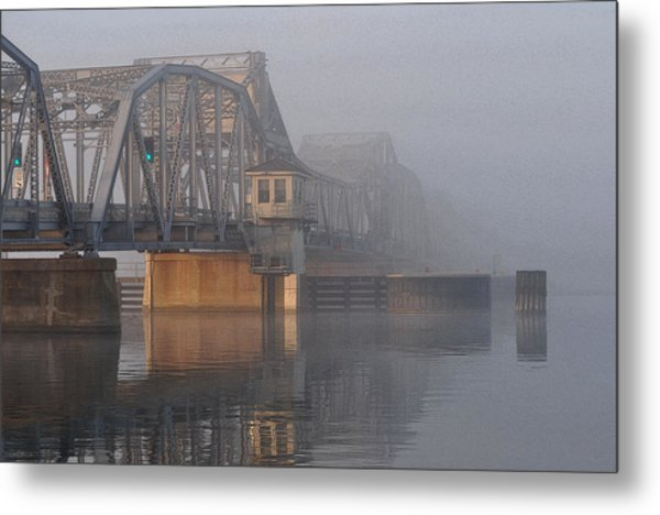 Steel Bridge In Fog Metal Print