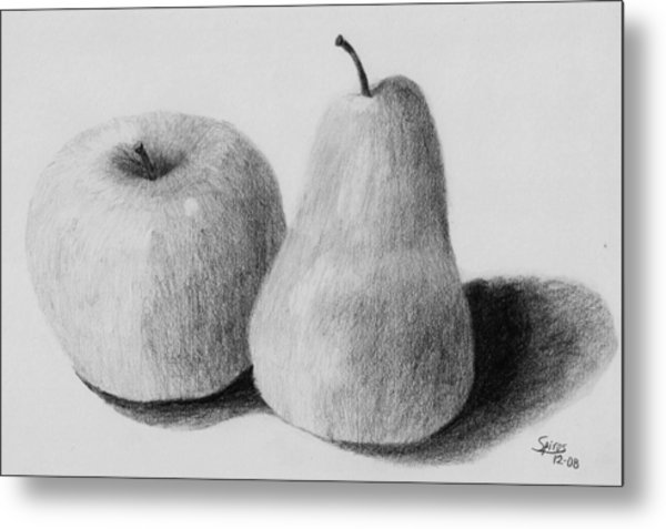 Still Life Apple Pear Metal Print by Spiros Antonellos