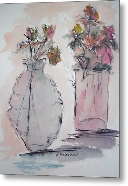 Still Life- Vase With Flowers Metal Print by Edward Wolverton