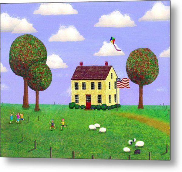 Stone House In Summer Metal Print by Paul Little