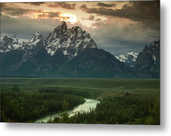 Storm Clouds Over The Tetons Metal Print