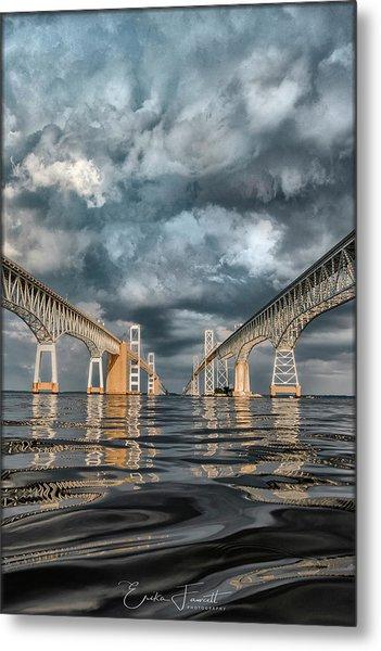 Stormy Chesapeake Bay Bridge Metal Print