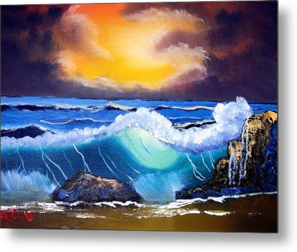 Stormy Sunset Shoreline Metal Print by Dina Sierra