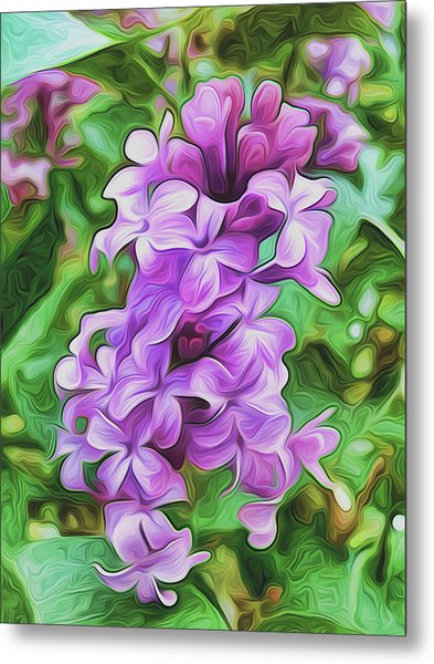 Stylized Spring Lilac By Frank Lee Hawkins Metal Print