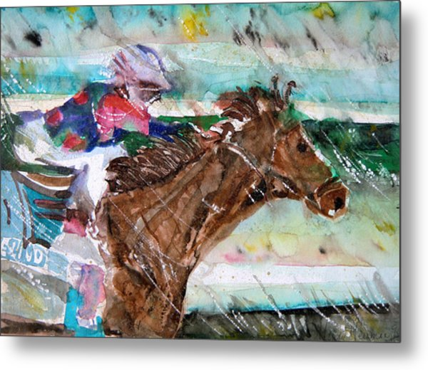 Summer Squall Horse Racing Metal Print