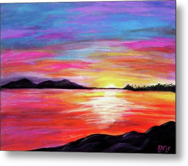 Metal Print featuring the painting Summer Sunrise by Sonya Nancy Capling-Bacle