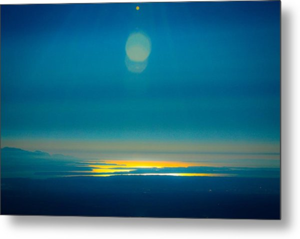 Sun Going Down On The Sound Metal Print