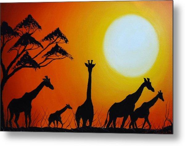 Sun Of The Giraffe 12 Metal Print by Dunbar's Modern Art