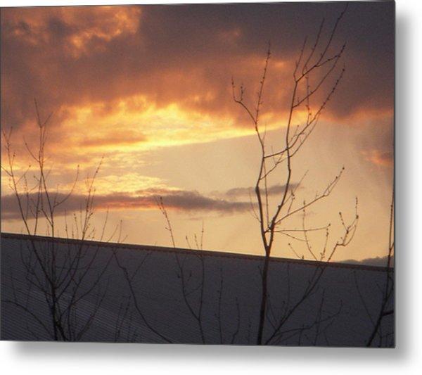 Sun Setting Orange Metal Print by Deborah Finley