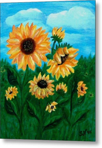 Metal Print featuring the painting Sunflowers For Mom by Sonya Nancy Capling-Bacle