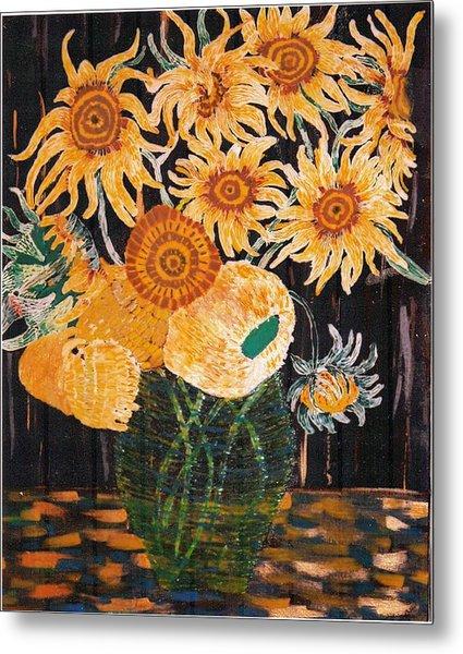 Sunflowers In Clear Vase Metal Print by Brenda Adams