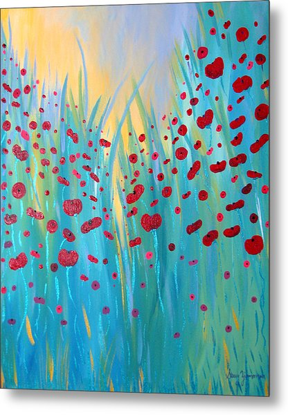 Sunlit Poppies Metal Print