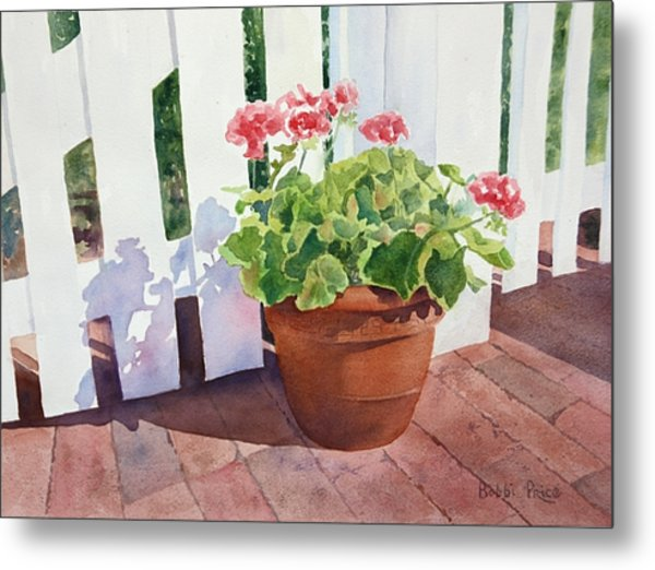 Sunny Day Geraniums Metal Print by Bobbi Price