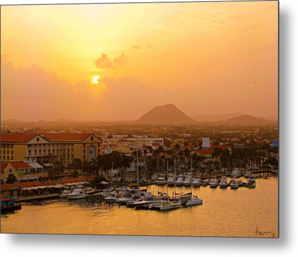 Sunrise On Aruba Metal Print
