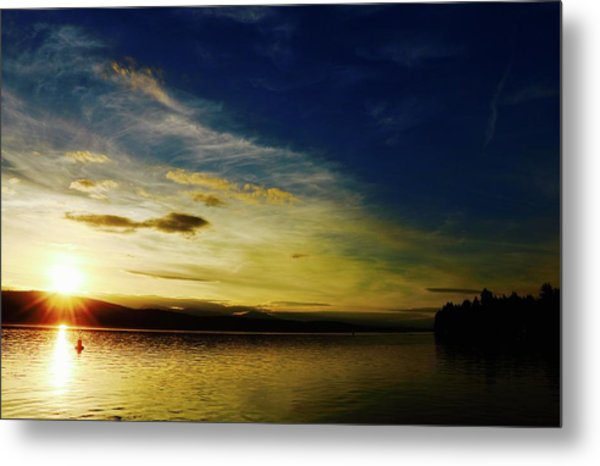 Sunset And Buoy Over Vancouver Island Metal Print