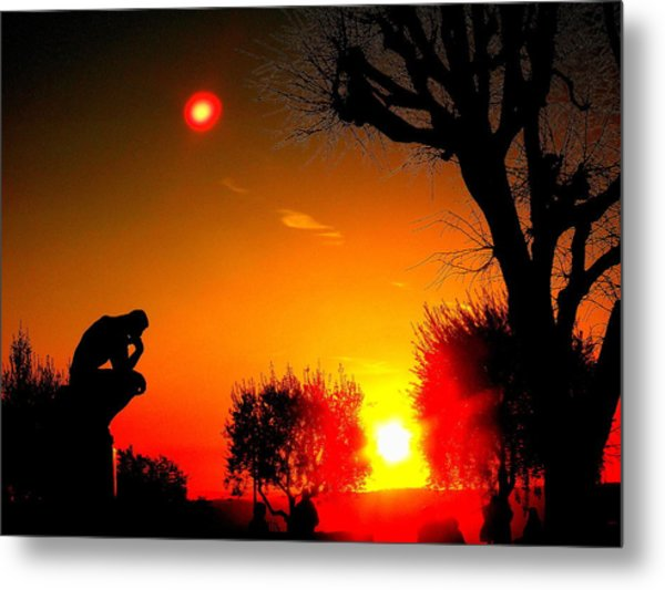 Sunset And Moon In France Metal Print