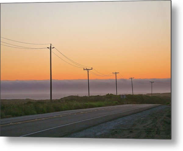 Sunset And Telephone Wires Metal Print by Liz Santie