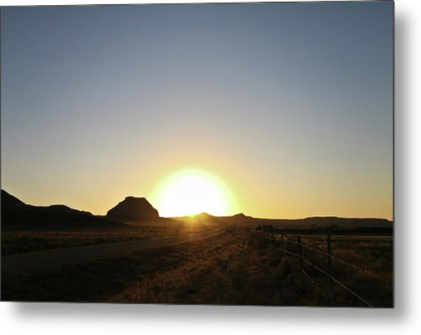 Sunset At Castle Butte Sk Metal Print