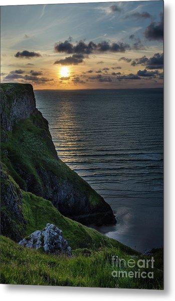 Sunset At Rhossili Bay Metal Print