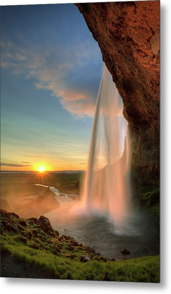 Sunset At Seljalandsfoss Metal Print
