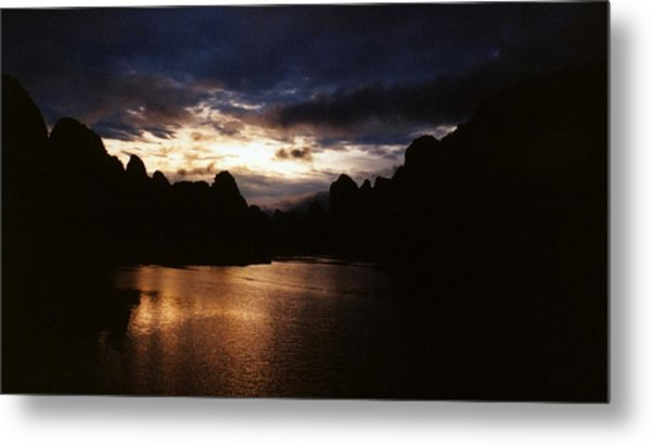 Sunset At Yangshuo In China Metal Print by Gosta Eger