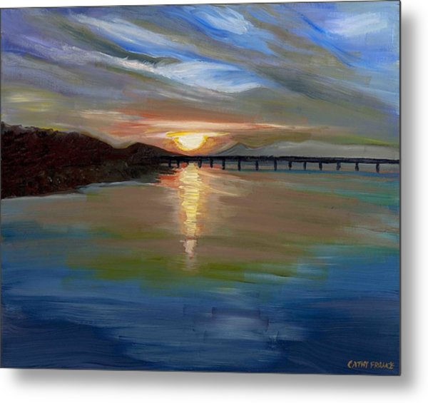 Sunset From The Big Dam Bridge Metal Print by Cathy France