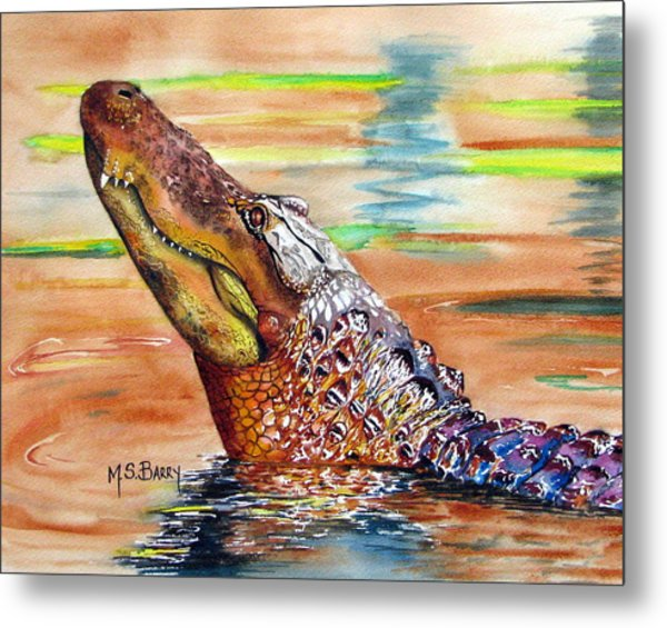 Sunset Gator Metal Print by Maria Barry