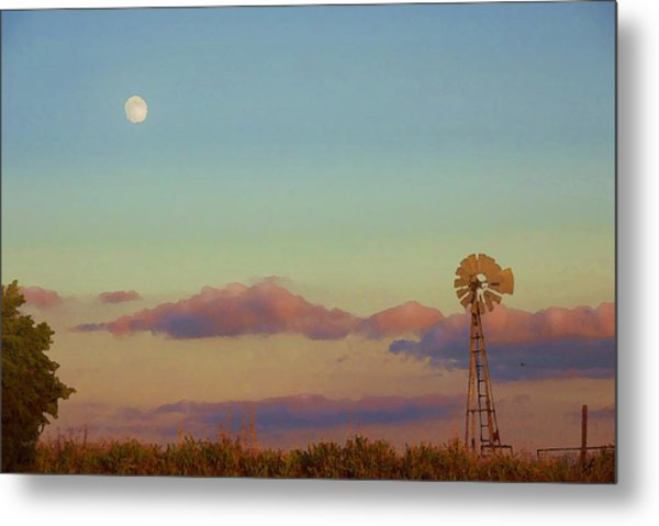 Sunset Moonrise With Windmill  Metal Print