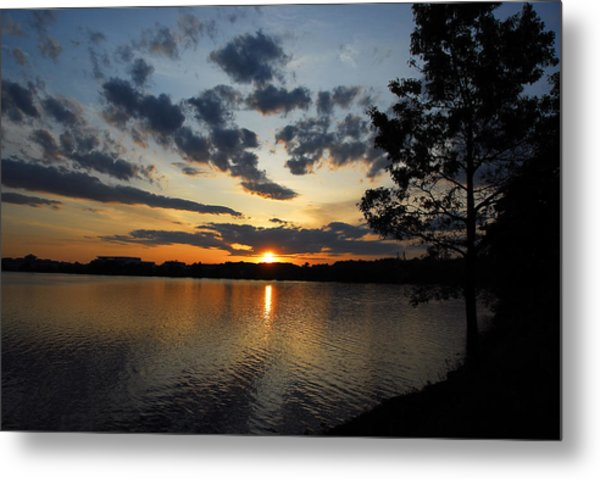 Sunset On Lake Quannapowitt Metal Print
