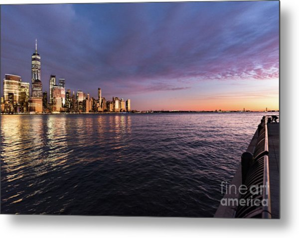 Sunset On The Hudson River Metal Print