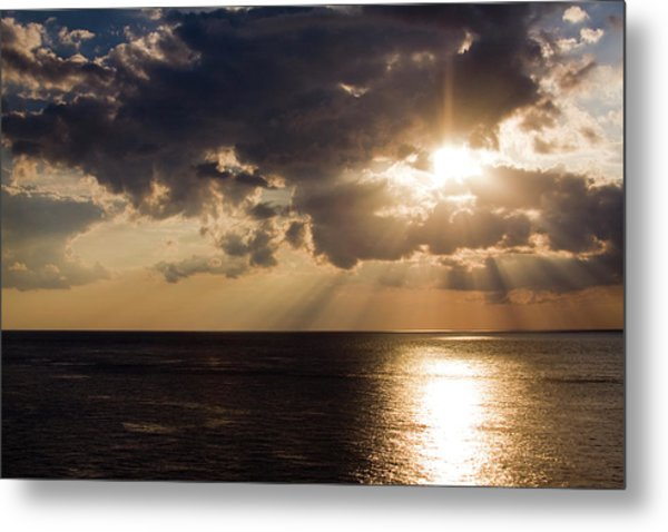 Sunset Over Gulf Of Mexico Metal Print