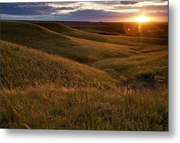 Sunset Over The Kansas Prairie Metal Print