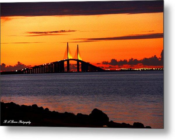 Sunset Over The Skyway Bridge Metal Print