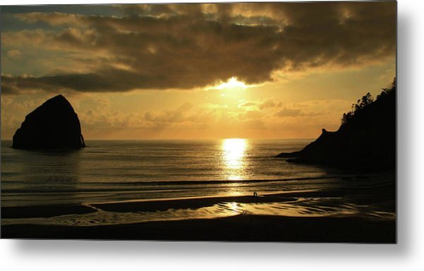 Sunset Panorama Haystack Rock Metal Print