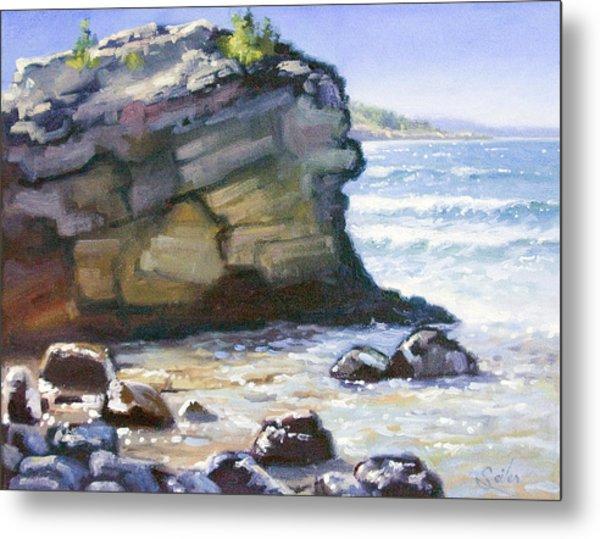 Sunset Point- Presque Isle Park- Lake Superior Metal Print by Larry Seiler