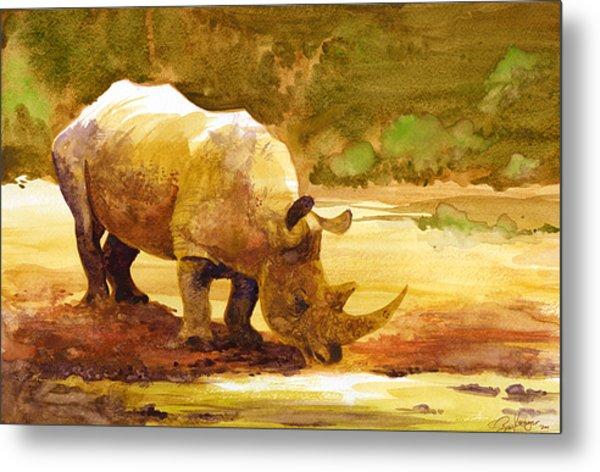 Sunset Rhino Metal Print by Brian Kesinger