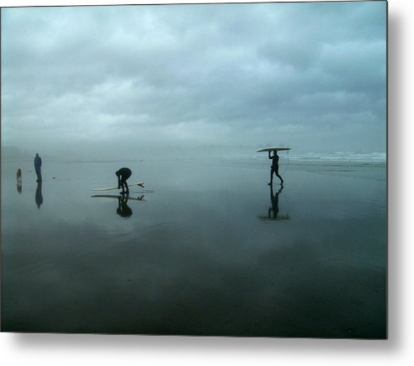 Surfers Stormy Day Metal Print