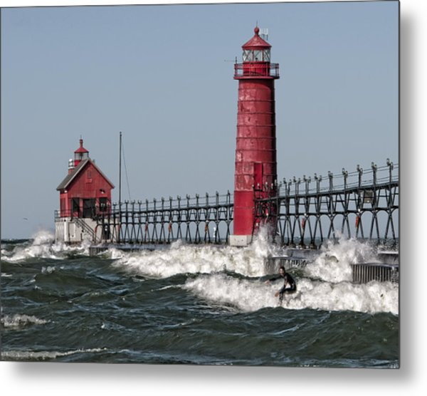 Surfing At Grand Haven Metal Print