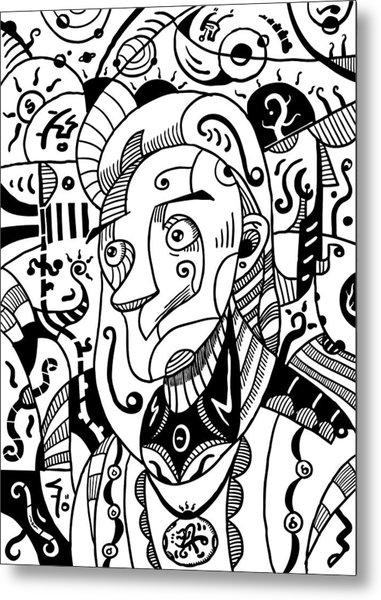 Surrealism Philosopher Black And White Metal Print