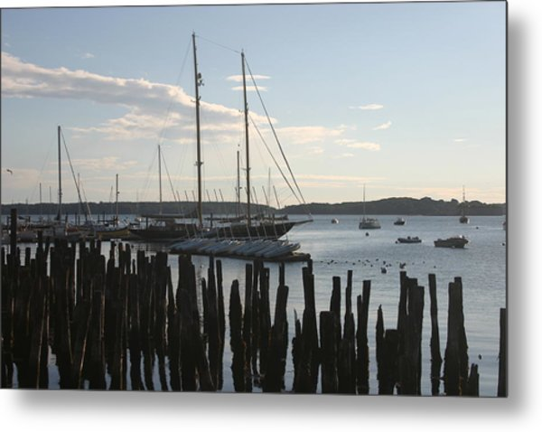 Tall Ship At Dock Metal Print by Dennis Curry