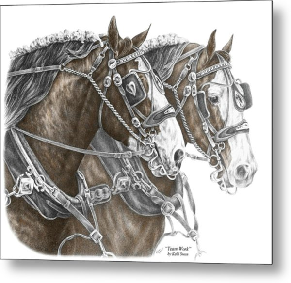 Team Work - Clydesdale Draft Horse Print Color Tinted Metal Print