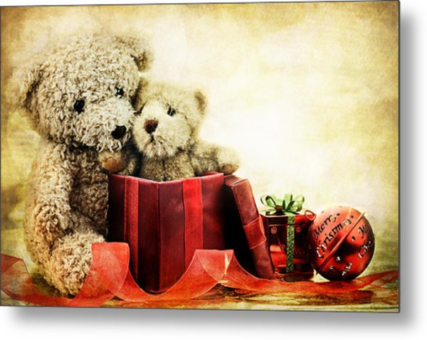 Teddy Bear Christmas Metal Print