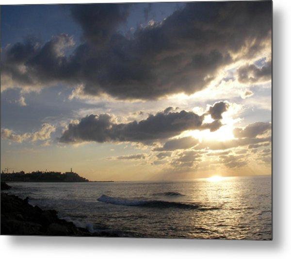 Tel Aviv Sunset At The Beach Metal Print by Yonatan Frimer Maze Artist