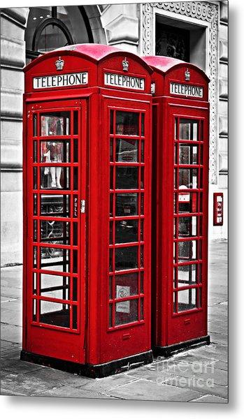 Telephone Boxes In London Metal Print