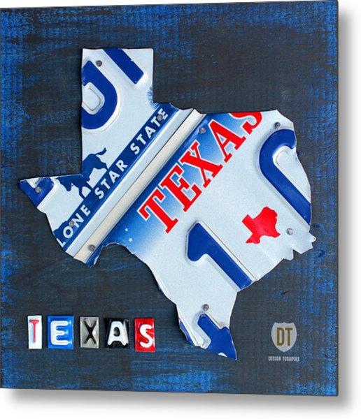 Texas License Plate Map Metal Print