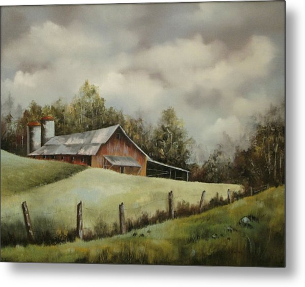 The Barn And The Sky Metal Print by Jerry Kelley