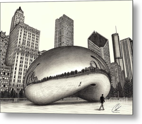 The Beach Chicago Drawing Metal Print