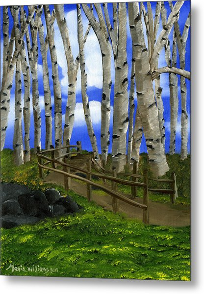 The Birch Tree Road Metal Print by Maria Williams